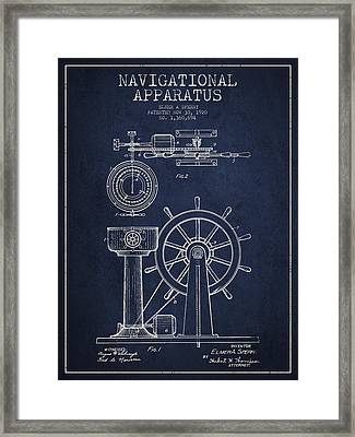 Navigational Apparatus Patent Drawing From 1920 - Navy Blue Framed Print