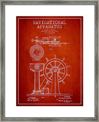 Navigational Apparatus Patent Drawing From 1920 - Red Framed Print