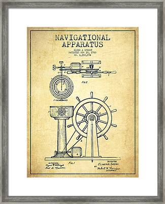 Navigational Apparatus Patent Drawing From 1920 - Vintage Framed Print