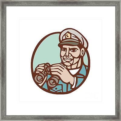 Navy Admiral Binoculars Circle Linocut Framed Print