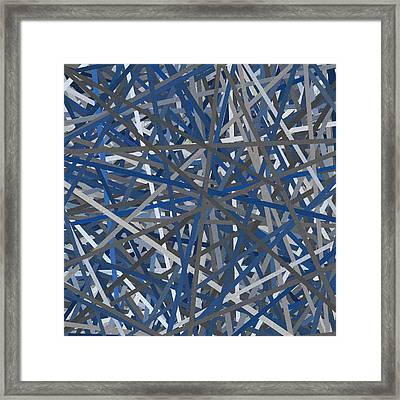 Navy Blue And Gray Art Framed Print