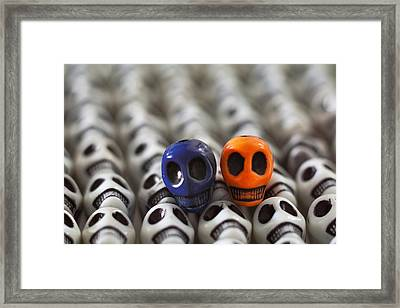 Navy Blue And Orange Framed Print by Mike Herdering