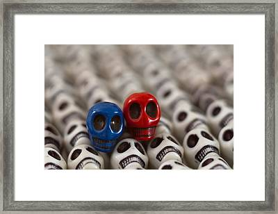 Navy Blue And Red Framed Print by Mike Herdering