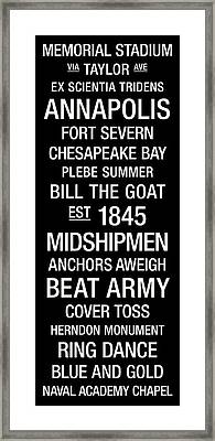 Navy College Town Wall Art Framed Print