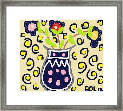 Navy Flowers In A Vaz Framed Print by Anita Dale Livaditis