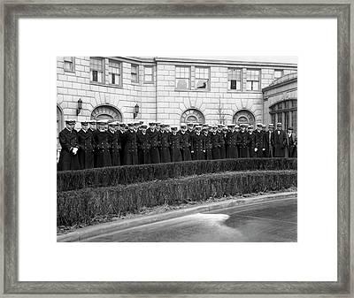 Navy Football Team Arrives Framed Print