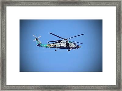 Navy Jaguar Helicopter Framed Print by Cathy Lindsey