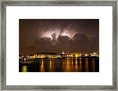 Navy Lightning Framed Print