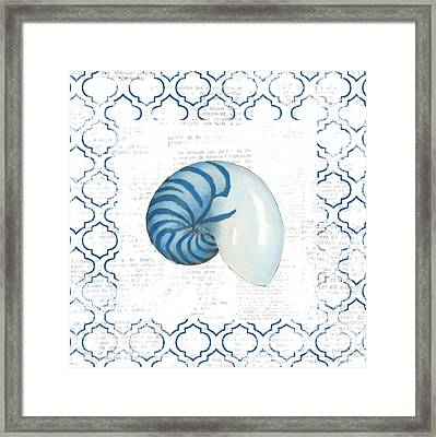 Navy Nautilus Shell On Newsprint Framed Print