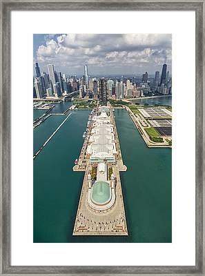 Navy Pier Chicago Aerial Framed Print by Adam Romanowicz
