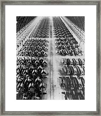 Navy Planes In Storage Framed Print