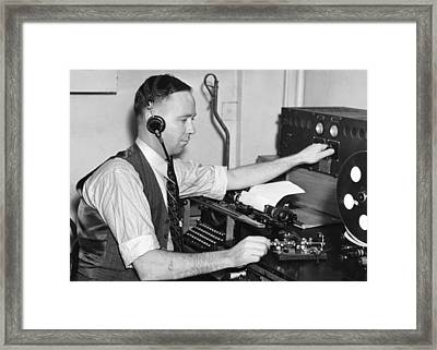 Navy Radio Telegraph Man Framed Print by Underwood Archives