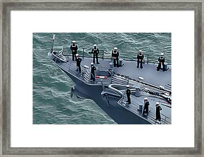 Navy Sailors On The Bow Framed Print by Wernher Krutein