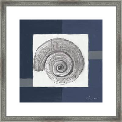 Navy Seashells II - Navy And Gray Art Framed Print