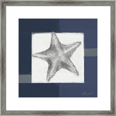 Navy Seashells IIi- Navy And Gray Art Framed Print