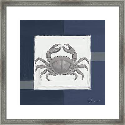 Navy Seashells Iv - Navy And Gray Art Framed Print