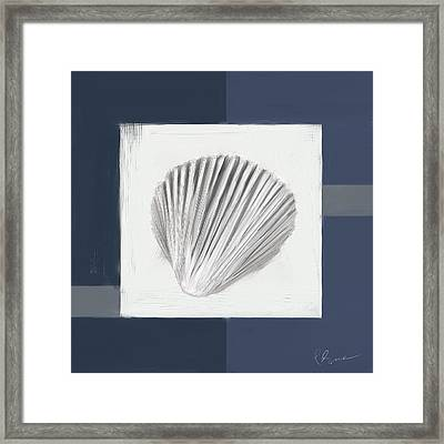 Navy Seashells V - Navy And Gray Art Framed Print