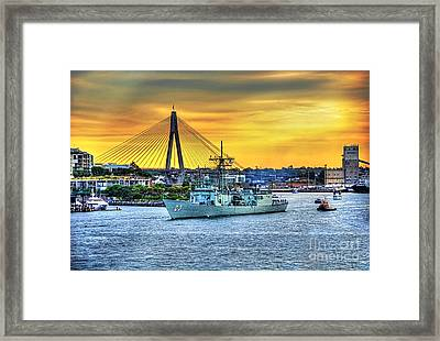 Navy Ship And Anzac Bridge At Sunset Framed Print