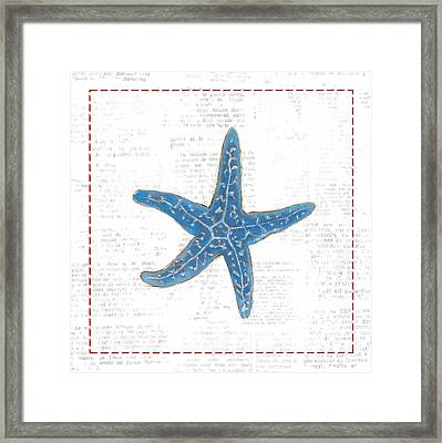 Navy Starfish On Newsprint With Red Framed Print by Emily Adams