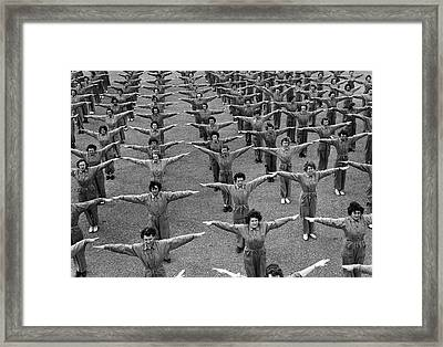 Navy Women Excercising Framed Print by Underwood Archives