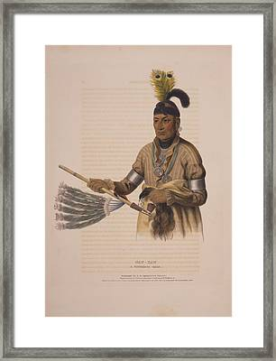 Naw-kaw, A Winnebago Chief  Drawn, Printed & Coloured Framed Print