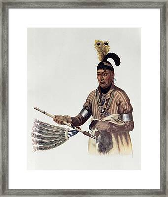Naw-kaw Or Wood, A Winnebago Chief, Illustration From The Indian Tribes Of North America, Vol.1 Framed Print by Charles Bird King