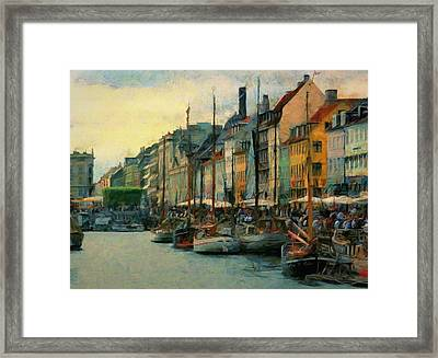 Framed Print featuring the painting Nayhavn Street by Jeff Kolker