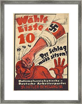 Nazi Party Anti-semitic Poster Framed Print