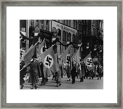 Nazis Parade In Vienna, Austria, On May Framed Print