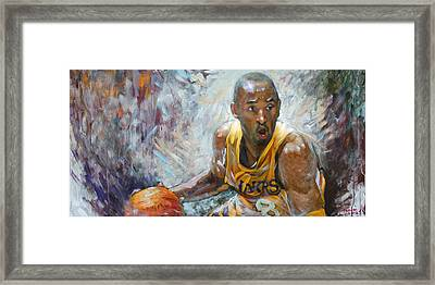 Nba Lakers Kobe Black Mamba Framed Print by Ylli Haruni