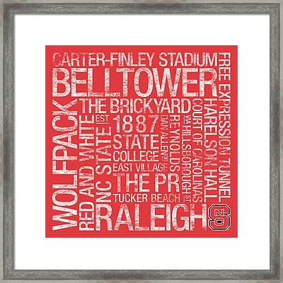 Nc State College Colors Subway Art Framed Print by Replay Photos