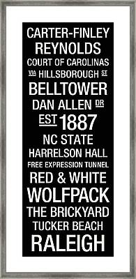 Nc State College Town Wall Art Framed Print