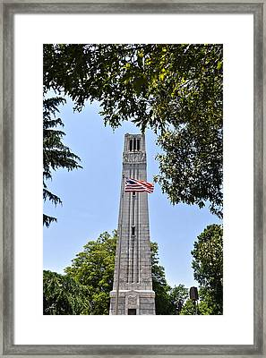 Nc State Memorial Bell Tower And Us Flag Framed Print