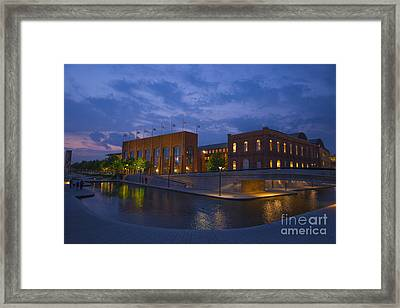 Ncaa Hall Of Champions Blue Hour Wide Framed Print by David Haskett
