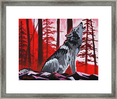 Wolf With Red Sky Framed Print