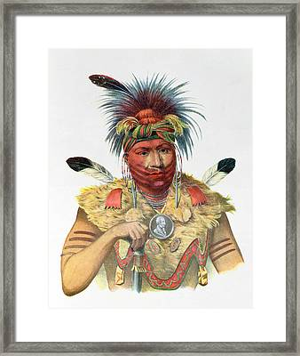 Ne-sou-a-quoit, A Fox Chief, Illustration From The Indian Tribes Of North America, By Thomas L Framed Print