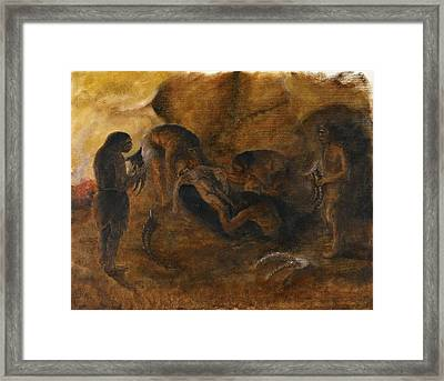 Neandertha Burial, Artwork Framed Print by Science Photo Library
