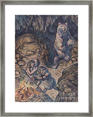 Neanderthal Humans Confronted By A Cave Framed Print by Mark Hallett