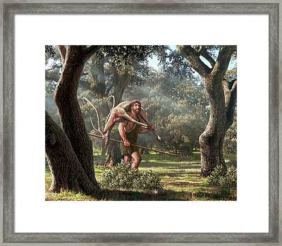 Neanderthal Hunter Framed Print by Mauricio Anton