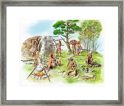 Neanderthal Settlement Framed Print