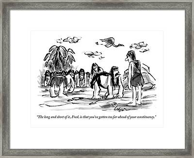 Neanderthal Speaks To An Upright Man As A Group Framed Print