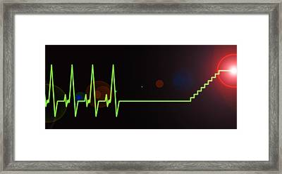 Near-death Experience, Heartbeat Trace Framed Print by Science Photo Library