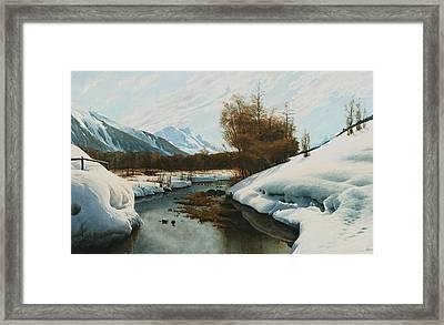 Near La Punt St Morritz In The Engadine Valley Framed Print by Peder Monsted
