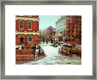 Near Quincy Market In Boston Framed Print by Yury Malkov