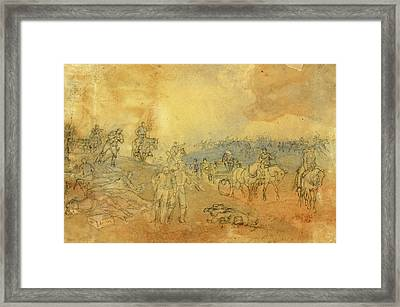 Near The Cemetery, Gettysburg Retiring Disabled Artillery Framed Print by Quint Lox