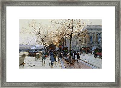 Near The Louvre Paris Framed Print by Eugene Galien-Laloue