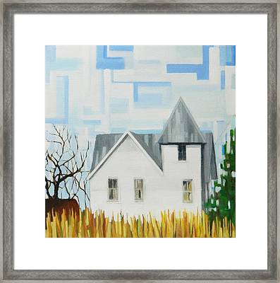 Nebraska Farmhouse Framed Print by Ron Erickson