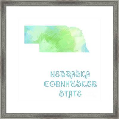 Nebraska - Cornhusker State - Map - State Phrase - Geology Framed Print by Andee Design