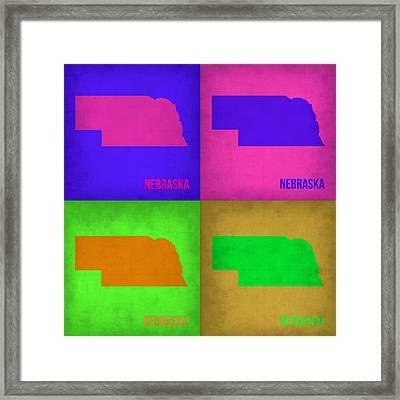 Nebraska Pop Art Map 1 Framed Print