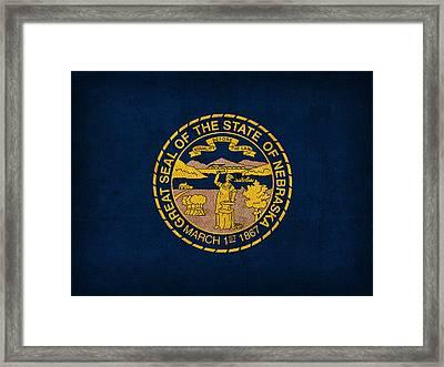 Nebraska State Flag Art On Worn Canvas Framed Print
